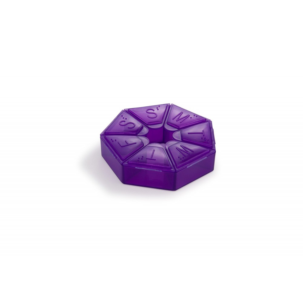 Pastillero Semanal Diamond Diseño Heptagonal - Morado