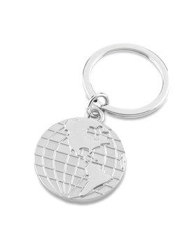 Aro Llavero Mapamundi Metalico - Silver