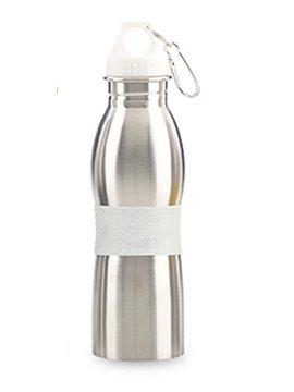 Botella Botilito Metalico Fleming 600ml Gancho Carabinero - Blanco