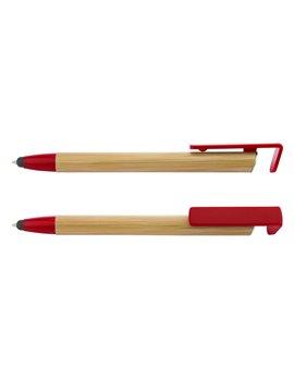 Esfero Boligrafo Gaza en Bamboo con Holder y Punta de Stylus - Rojo