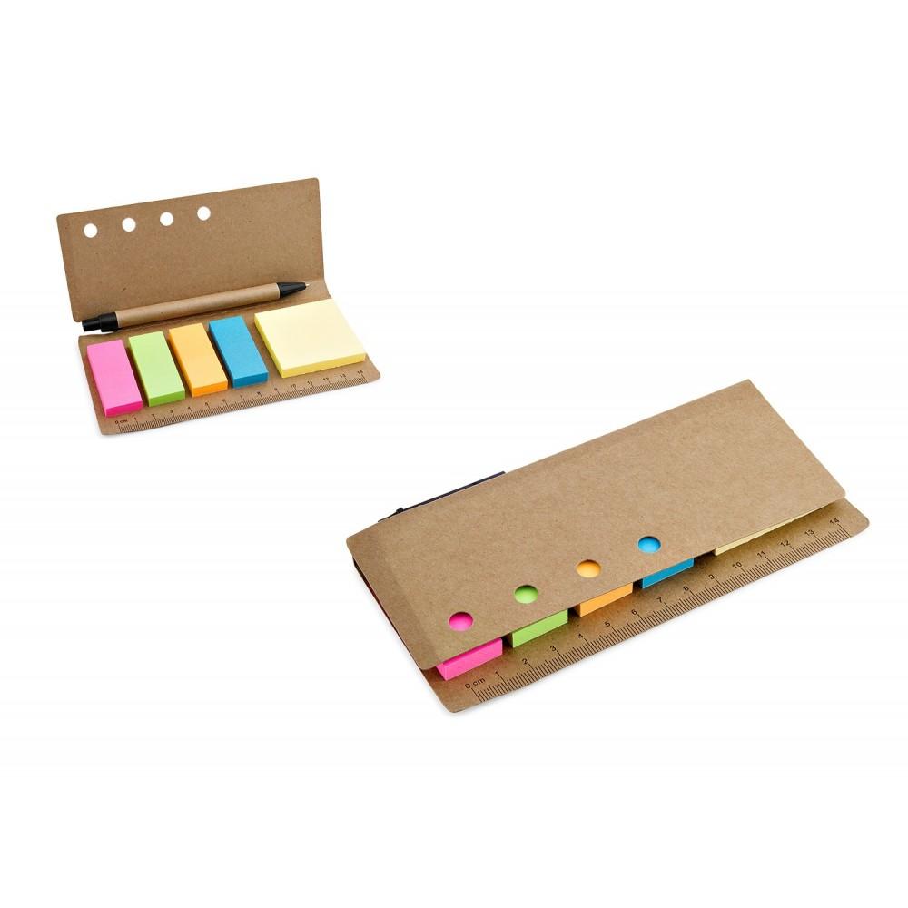 Libreta Set de Memos con Boligrafo Ecologico Cubierta Carton - Natural