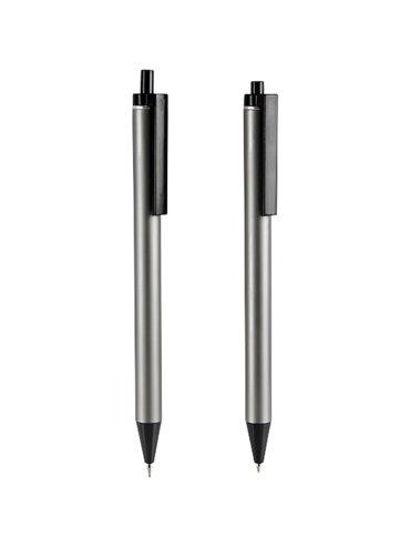 Boligrafo Lapicera Set Lofty en Aluminio Incluye Estuche - Gris