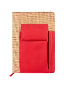 Bloc Libreta Seliger Paja Compartimiento Frontal Smartphone - Rojo