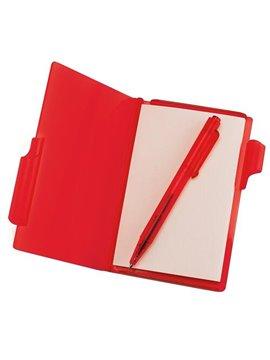 Block De Notas Con Boligrafo en Plastico Contiene 60 Hojas - Rojo