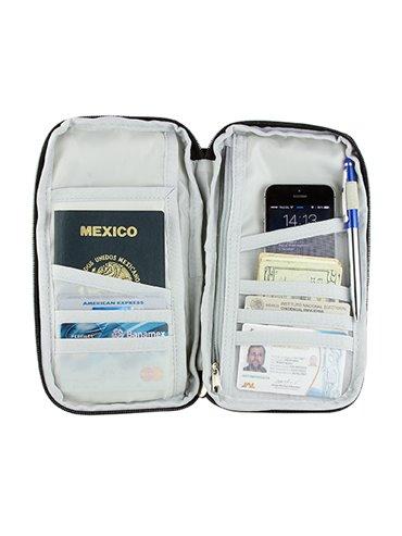 Porta Pasaporte Skana en Poliester Incluye Correa - Negro