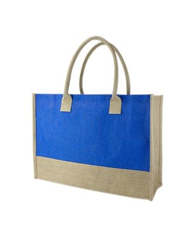 Maletin Bolsa Torba en Yute Interior Plastificado con Fuelle - Azul