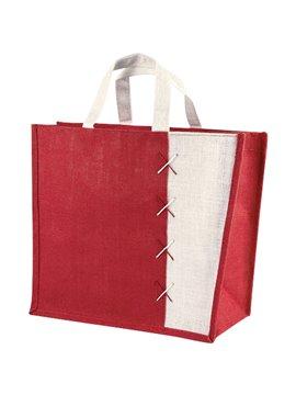 Maletin Bolsa Almez en Yute Bolsa con Fuelle - Rojo