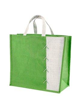 Maletin Bolsa Almez en Yute Bolsa con Fuelle - Verde