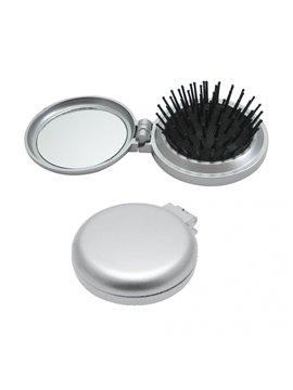 Cepillo Espejo Elaborado en Plastico Incluye Espejo Circular - Plata