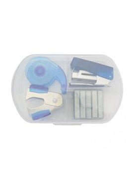 Kit De Oficina Clean con Estuche Plastico - Azul