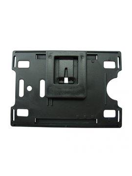 Porta Carnet Plastico con Clip Posterior - Negro
