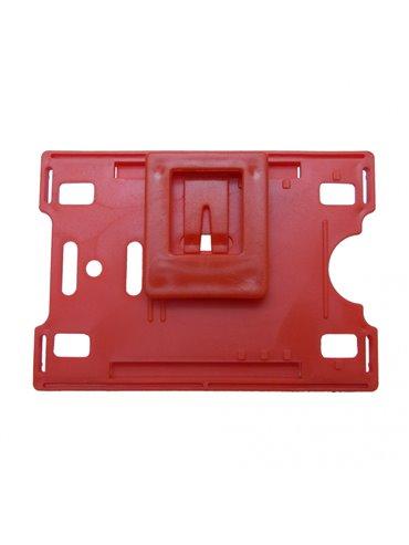 Porta Carnet Plastico con Clip Posterior - Rojo