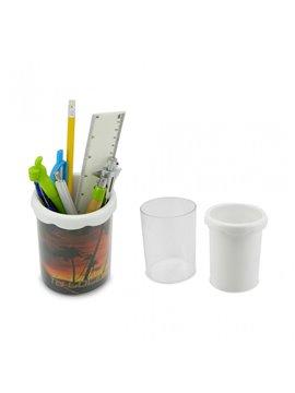Porta Esferos Etiqueta en Plastico Personalizable - Blanco