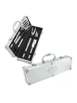 Set BBQ Elaborado Aluminio Incluye 4 Utencillos para Asados - Plata