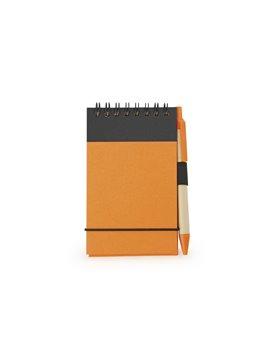 Cuaderno Libreta Clip Con Boligrafo Argolla Doble O - Naranja