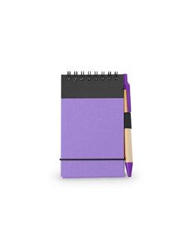 Cuaderno Libreta Clip Con Boligrafo Argolla Doble O - Morado