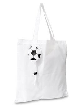 Tula Morral Bolsa Compacta Soccer Ball en Poliester Plegable - Blanco