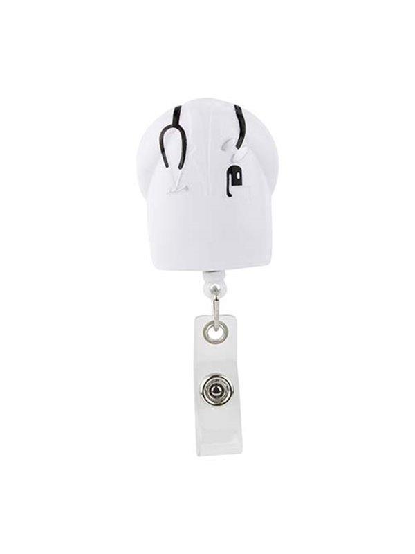 Porta Identificador de Carnet Doctor con Cordon de 80 Cm - Blanco