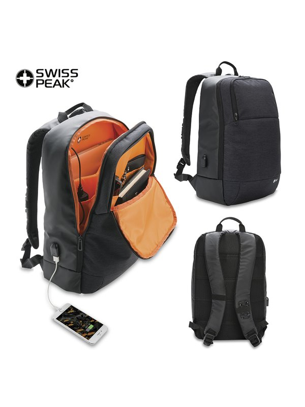 Morral Backpack Modern Swisspeak Conexion Puerto USB - Negro