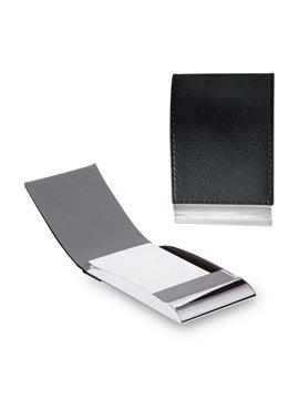 Estuche Porta tarjetas De Lujo En metal Y Tapa En Cuero - Negro