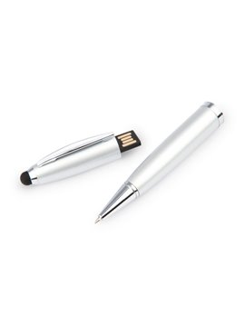 Esfero Boligrafo USB 8 Gb Sistema Touch Twist - Plateado
