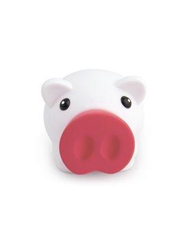Alcancia Little Piggy White Hecha en PVC Tapa Frontal - Blanco/Rojo