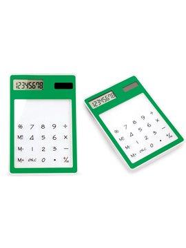 Calculadora Cristal No Necesita Bateria Teclado Transparente - Verde
