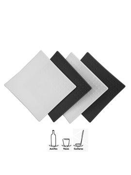 Set de 4 Portavasos Multiproposito en Silicona Facil Lavado - Negro/Blanco