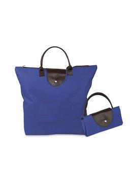 Bolsos Plegables Con Cremallera Hechos En Poliester - Azul Solido