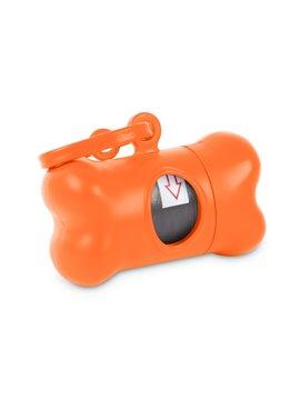 Dispensador de Bolsa para Mascota tipo Hueso - Naranja