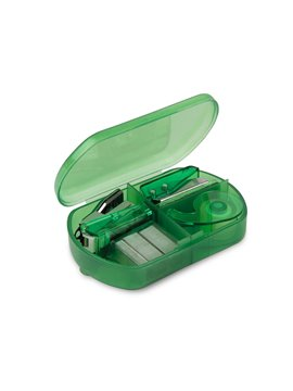 Kit de Oficina con perforadora cinta cosedora y ganchos - Verde