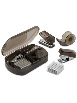 Kit de Oficina con perforadora cinta cosedora y ganchos - Negro
