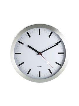 Reloj De Pared en Aluminio Metal Clock 35 cm Diametro - Plateado