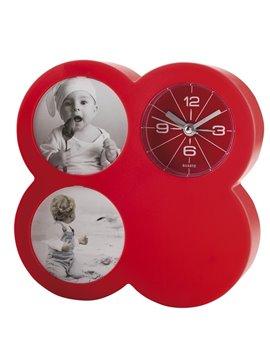 Reloj Plastico De Mesa Cloud 2 Portaretratos y Alarma - Rojo