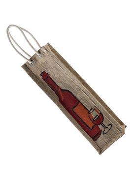 Bolsa En Yute Wine Agarradera De Cordon Impresion Botella - Natural