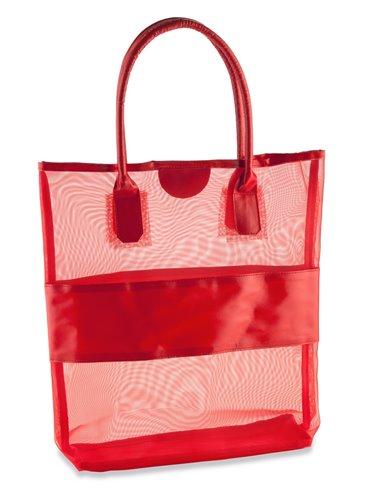 Bolso En Malla Summer Con Franja y Agarraderas En PVC - Rojo