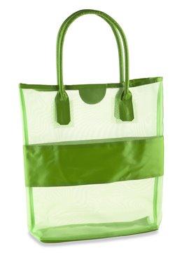Bolso En Malla Summer Con Franja y Agarraderas En PVC - Verde