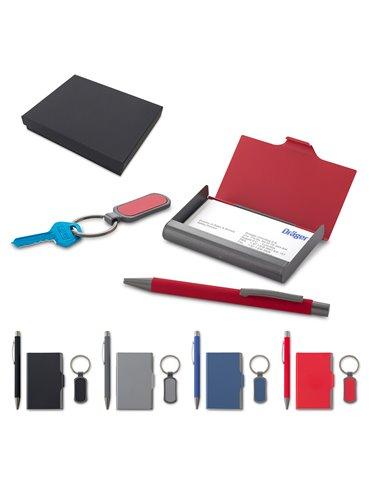 Set de Llavero y Portatarjetas Metalico Caja Individual - Rojo