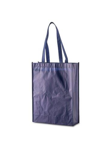 Bolsa Laminada en Cambrel Jasper Plastificado Con Fuelle - Azul Oscuro