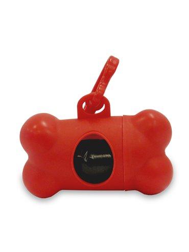 Dispensador de Bolsas Bone Para Mascota Forma De Hueso - Rojo