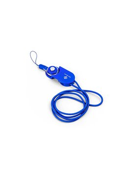 Cable Dual Locked USB iPhone Android Portacarnet - Azul Rey