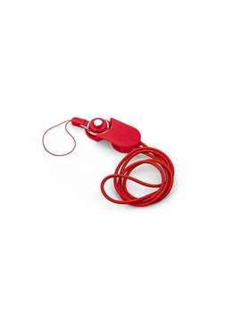 Cable Dual Locked USB iPhone Android Portacarnet - Rojo