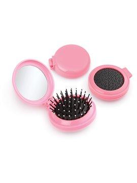 Espejo con cepillo redondo para cabello - Rosado