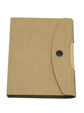 Libreta en Carton Reciclable Button Con Boligrafo 70 Hojas - Natural