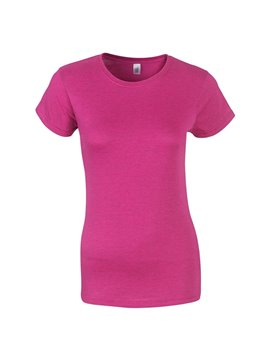 Gildan Camiseta Talla M T Shirt Dama Cuello Redondo - Rosa Tropical