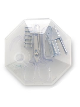 Set De Escritorio Octagon en Plastico 4 Accesorios - Estuche Transparente-blanco