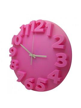Reloj Alto Relieve Elaborado en Plastico - Fucsia