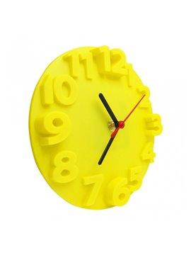 Reloj Alto Relieve Elaborado en Plastico - Amarillo