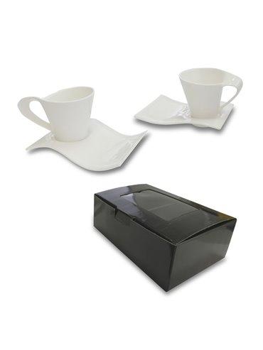Set De Ceramica Wave 4 Piezas 2 Tazas - Blanco