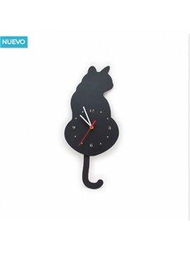 Reloj En Forma De Gato Elaborado en Mdf - Negro